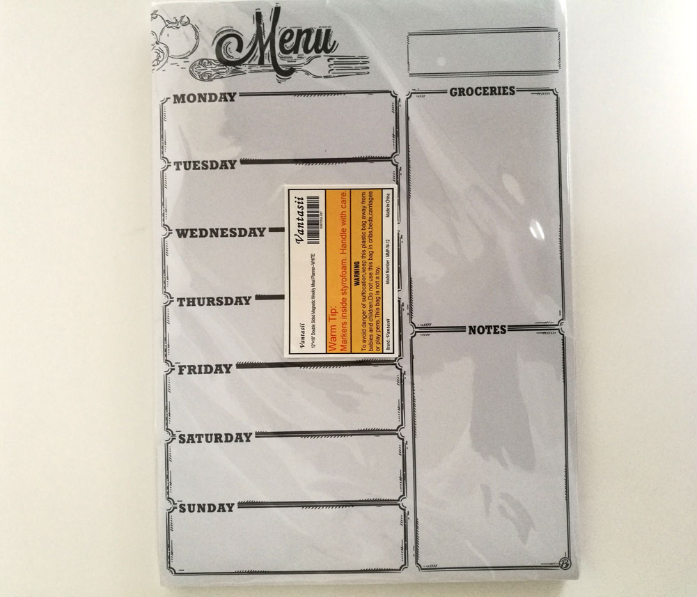 Magnetic Refrigerator Whiteboard Weekly Menu Meal Planner Grocery Shopping List Dry Erase Board For Kitchen Fridge With 8 Color Magnetic Markers