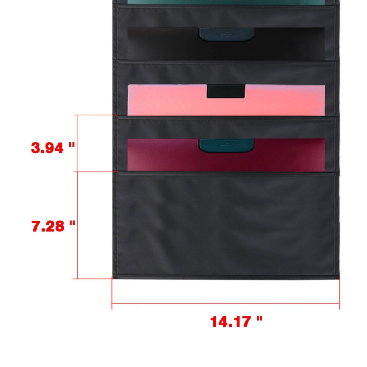 Storage Pocket Chart Wall Hanging File Organizer Folder With 10 Large Pockets For Office Home School Studio Etc 14 X 47 Inch Black